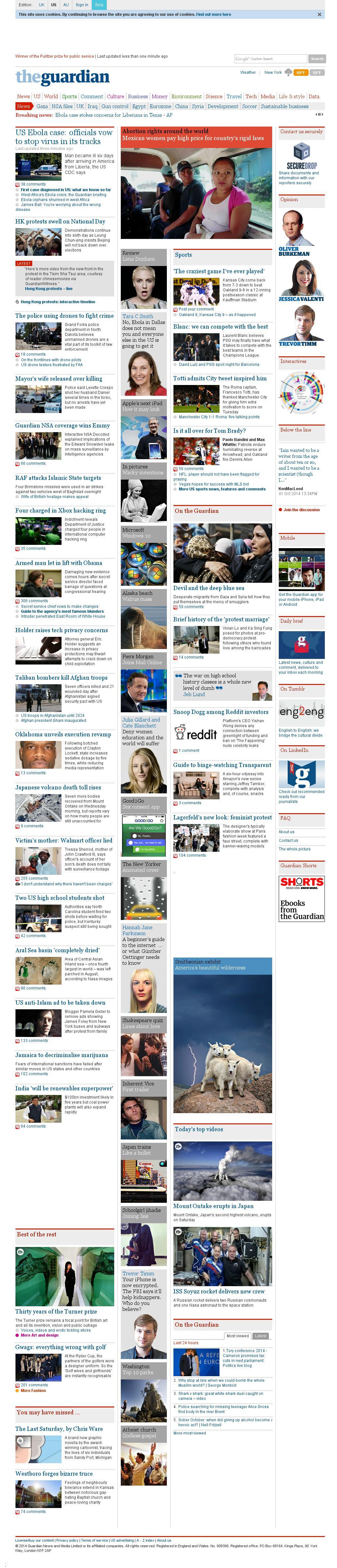 The Guardian at Wednesday Oct. 1, 2014, 1:07 p.m. UTC