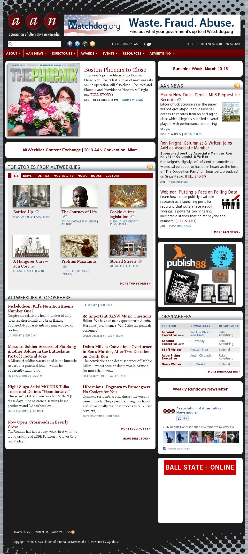 Association of Alternative Newsmedia at Friday March 15, 2013, 1 a.m. UTC