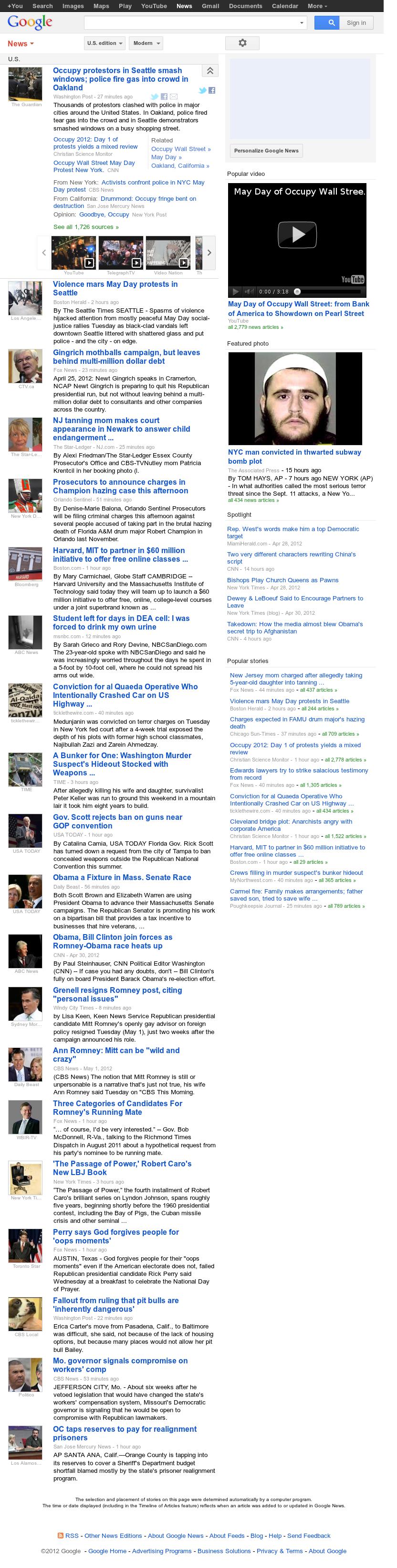 Google News: U.S. at Wednesday May 2, 2012, 3:07 p.m. UTC