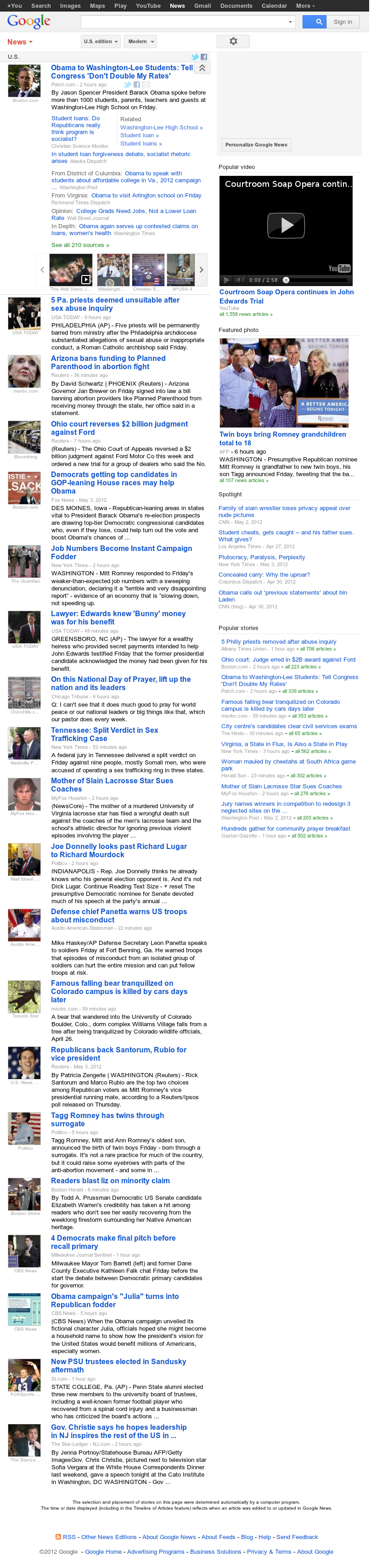 Google News: U.S. at Saturday May 5, 2012, 4:06 a.m. UTC