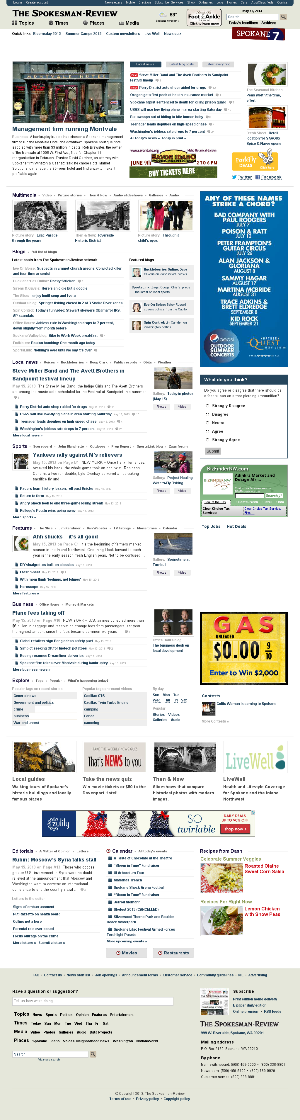 The (Spokane) Spokesman-Review at Thursday May 16, 2013, 12:26 a.m. UTC
